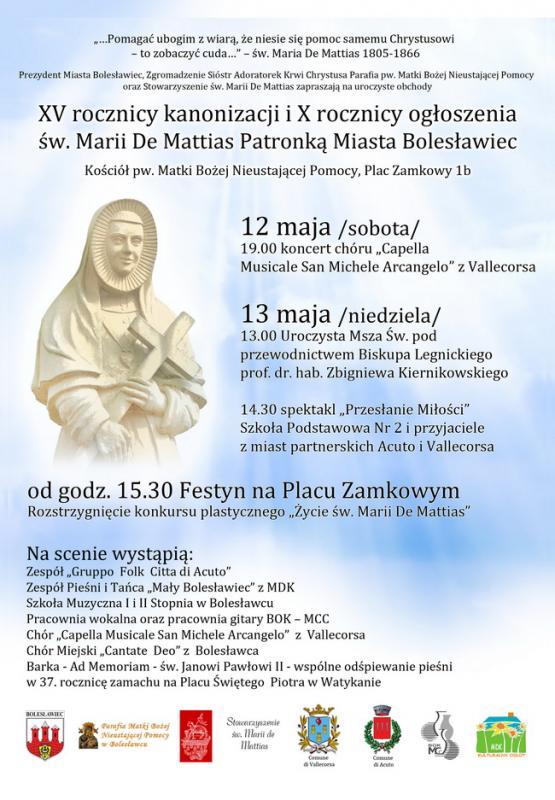 Obchody XV rocznicy kanonizacji i X rocznicy ogłoszenia św. Marii de Mattias Patronką Bolesławca